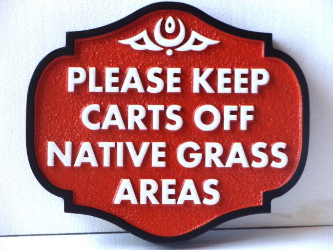 E14542 - Golf Course- Keep off Native Grass Areas Sign