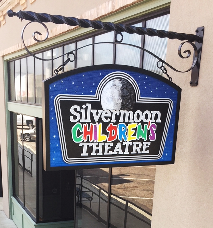 "FA15704 - Carved HDU Entrance Sign for the ""Silvermoon Children's Theater"", with Silvery Moon as Artwork"