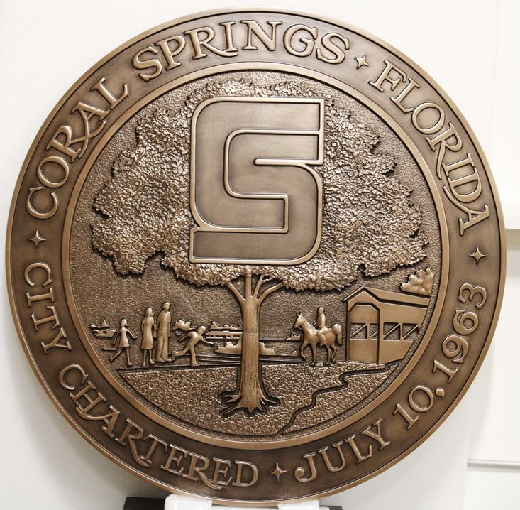 DP-1370 - Carved Plaque of the Seal of the City of Coral Springs, Florida, 3-D Bronze-Plated