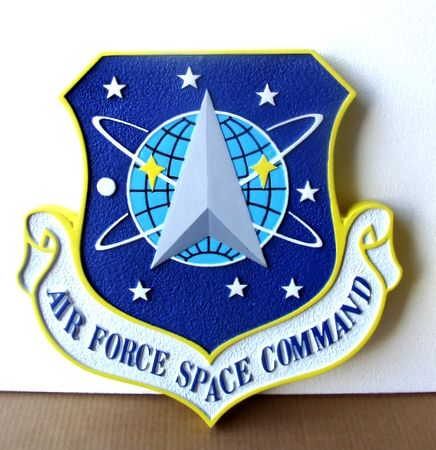 LP-1219 - Carved Shield Plaque of the Crest of the Air Force Space Command, 2,5-D Artist Painted