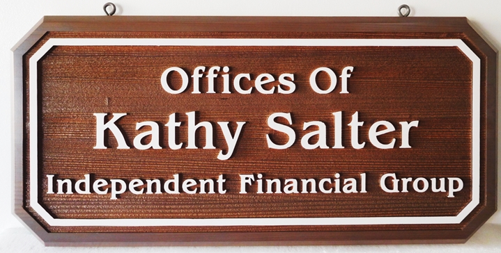 C12092 - Rustic-looking Carved Hanging Sign for a Financial Group, 2.5-D Relief with Raised Text and Border and Sandblasted Wood Grain Background