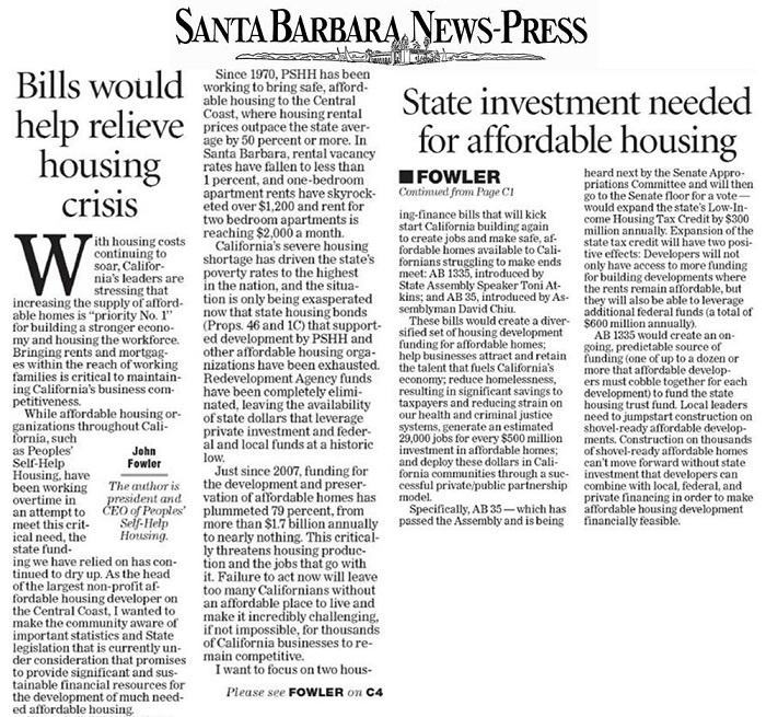 Bills would help relieve housing crisis - Santa Barbara News Press