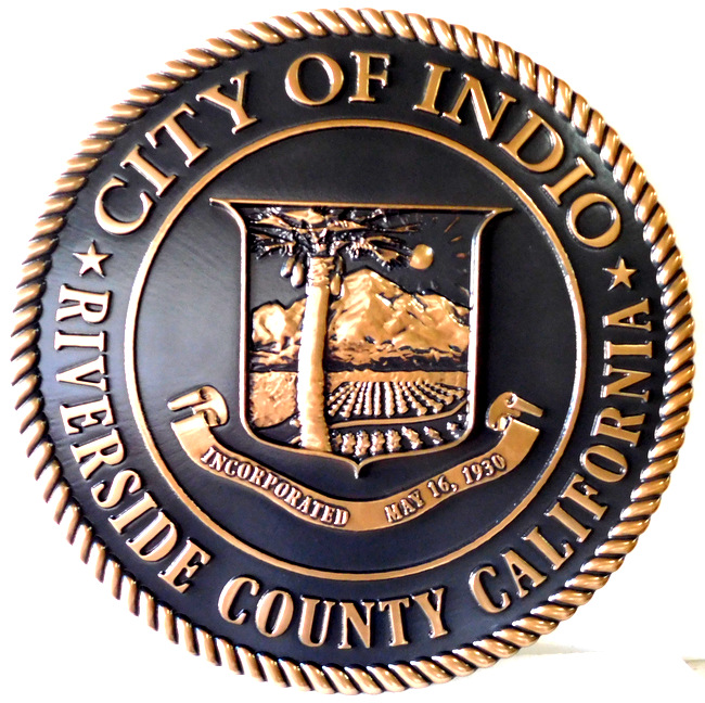 DP-1560 - Carved Plaque of the Seal of the City of Indio, California,  Bronze Plated