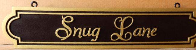 M17063 - Elegant Carved HDU Hanging Street Name Sign, Snug Way