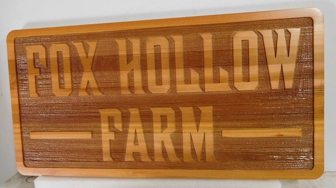 O24950 - 2.5-D Carved and Sandblasted Western Red Cedar Entrance Sign for Fox Hollow Farm