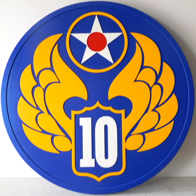 MP-1560 - Carved Plaque of the Insignia of a Unit of the US Army,    Artist Painted
