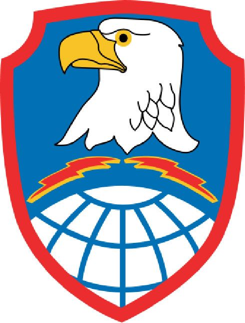 V31785 - Carved Wood Wall Plaque of US Army Space and Missile Defense Command Shoulder Insignia