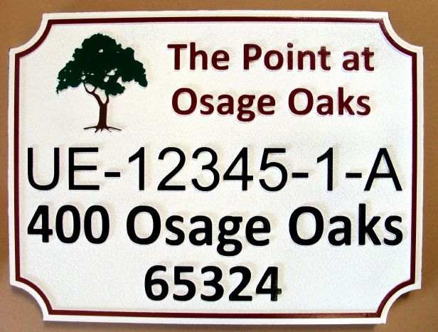 I18324 -Carved 2.5-D HDU Proerty Name and Address Sign, with Oak Tree