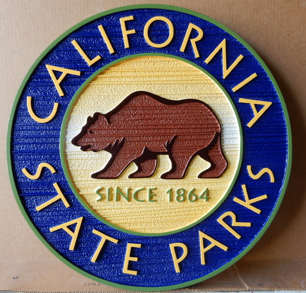 W32076A - Carved and Sandblasted HDU Wall Plaque of Seal for California State Parks