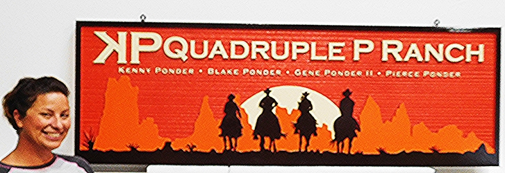 O24009 - Carved and Sandblasted Wood Grain  HDU Sign for the KP Quadruple Ranch, 2.5-D Artist-Painted with 4 Cowboys on Horses Silhouetted against a Sunset