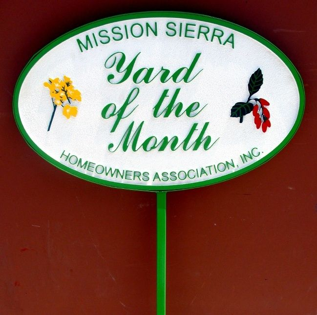 "KA20930 - Carved High-Density-Urethane (HDU) Yard-of-the-Month Sign for ""Mission Sierra"" HOA, with Carved Flowers"