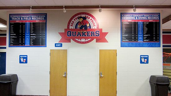 School record boards for swimming and for track, custom signs, high school signage company