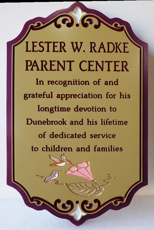 "GC16625 - Engraved HDU  Wall Plaque, ""Lester W. Radke Parent Center"""