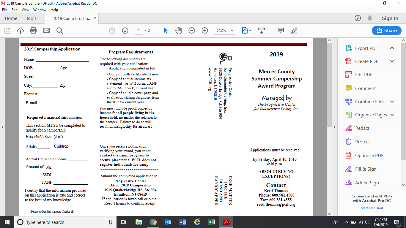 Mercer County Summer Campership Award Program