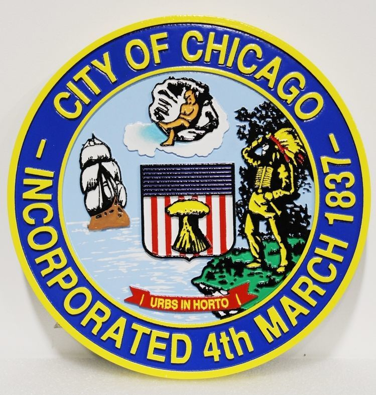 DP-1270 - Carved 2.5-D HDU Plaque of the Seal of the of City of Chicago, Illinois