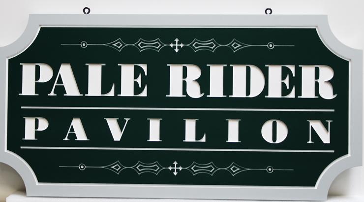 "GA16519 -  Engraved High-Density-Urethane (HDU) ""Pale Rider Pavilion""Sign"