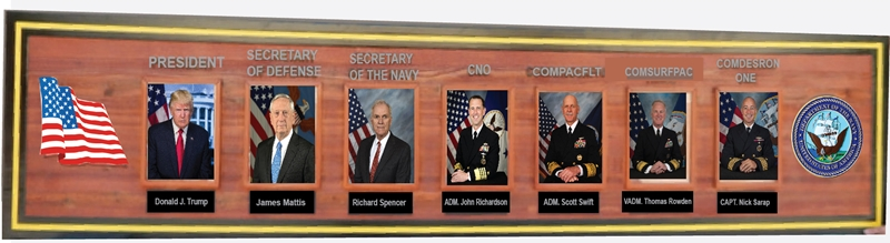 V31382 - Redwood Photo Plaque of Chain of Command for Navy Unit