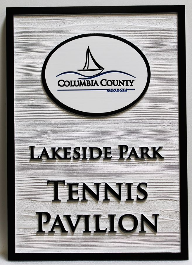 GB16843  - Carved Western Red Cedar Wood Tennis Pavilion Entrance Sign f0r Lakeside Park in Columbia County Georgia, with Stylized Sailboat as Artwork