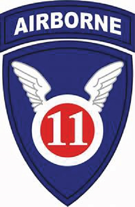 """MP-1510 - Carved Plaque of the Insignia of the 11th Airborne  Division of the US Army,  """"The Angels"""",  Artist Painted"""