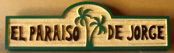 "L21148 – Carved 2.5-D HDU Spanish Beach House Sign, ""El Paraiso de Jorge"" with a Two  Palm Trees"
