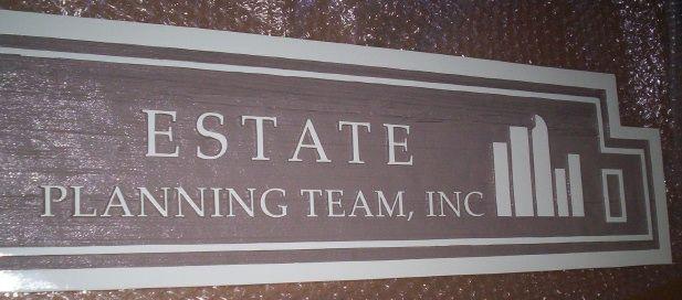 "SA28540 - Carved  HDU Sign for the "" Estate Planning Team, Inc."""