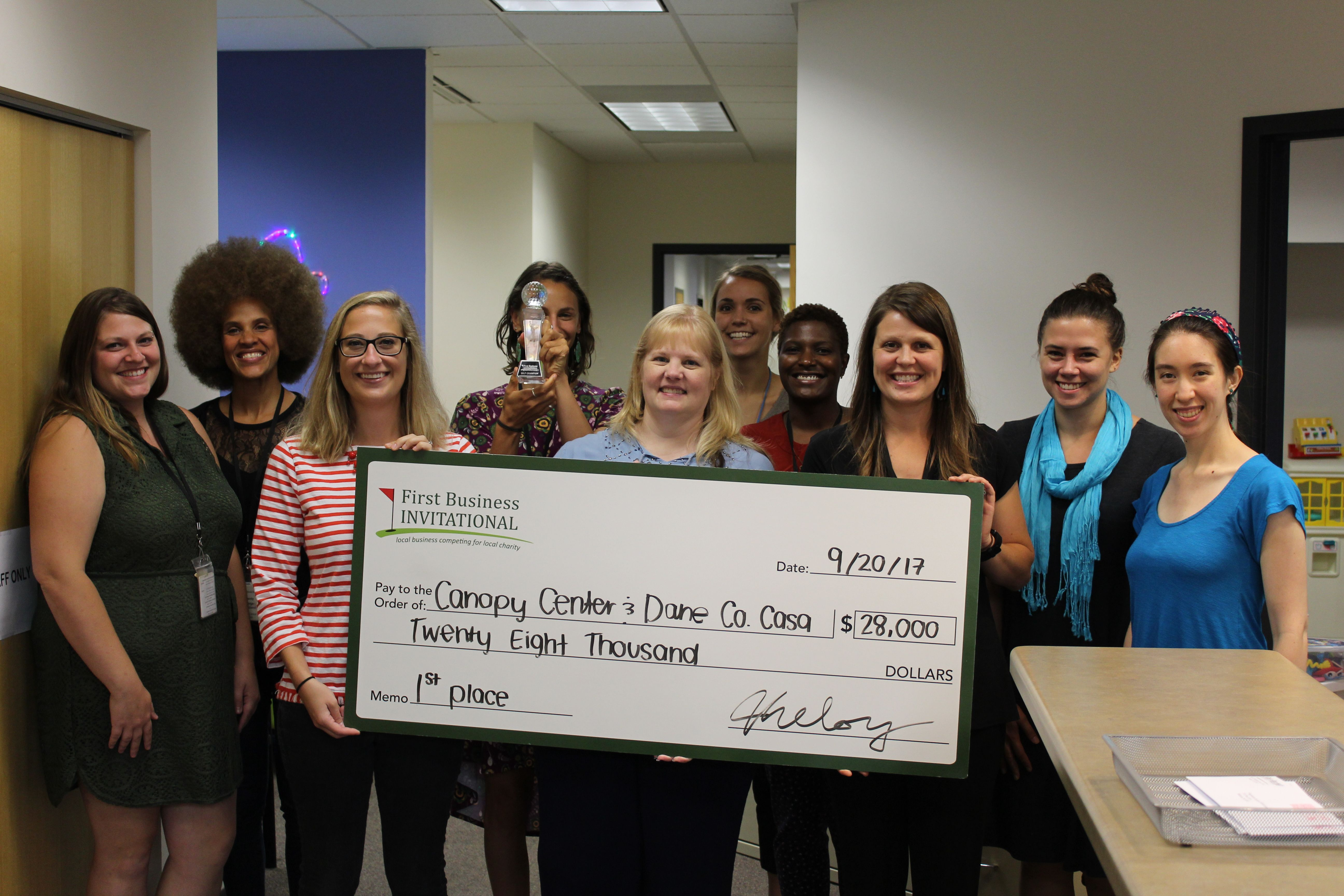 Canopy Center as the top charity of the First Business Invitational!