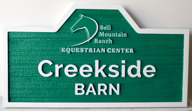 P25221 - Carved HDU Sign for Equestrian Center Ranch and Barn; Stylized Horsehead