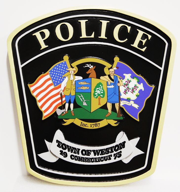 PP-2235 - Carved 2.5-D HDU Plaque of the Shoulder Patch of the Police Department of the Town of Weston, Connecticut , with Giclee Print as Artwork