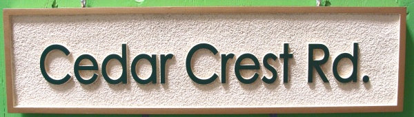 H17071 -  Carved and Sandblasted HDU Road  Name Sign, Cedar Crest Road