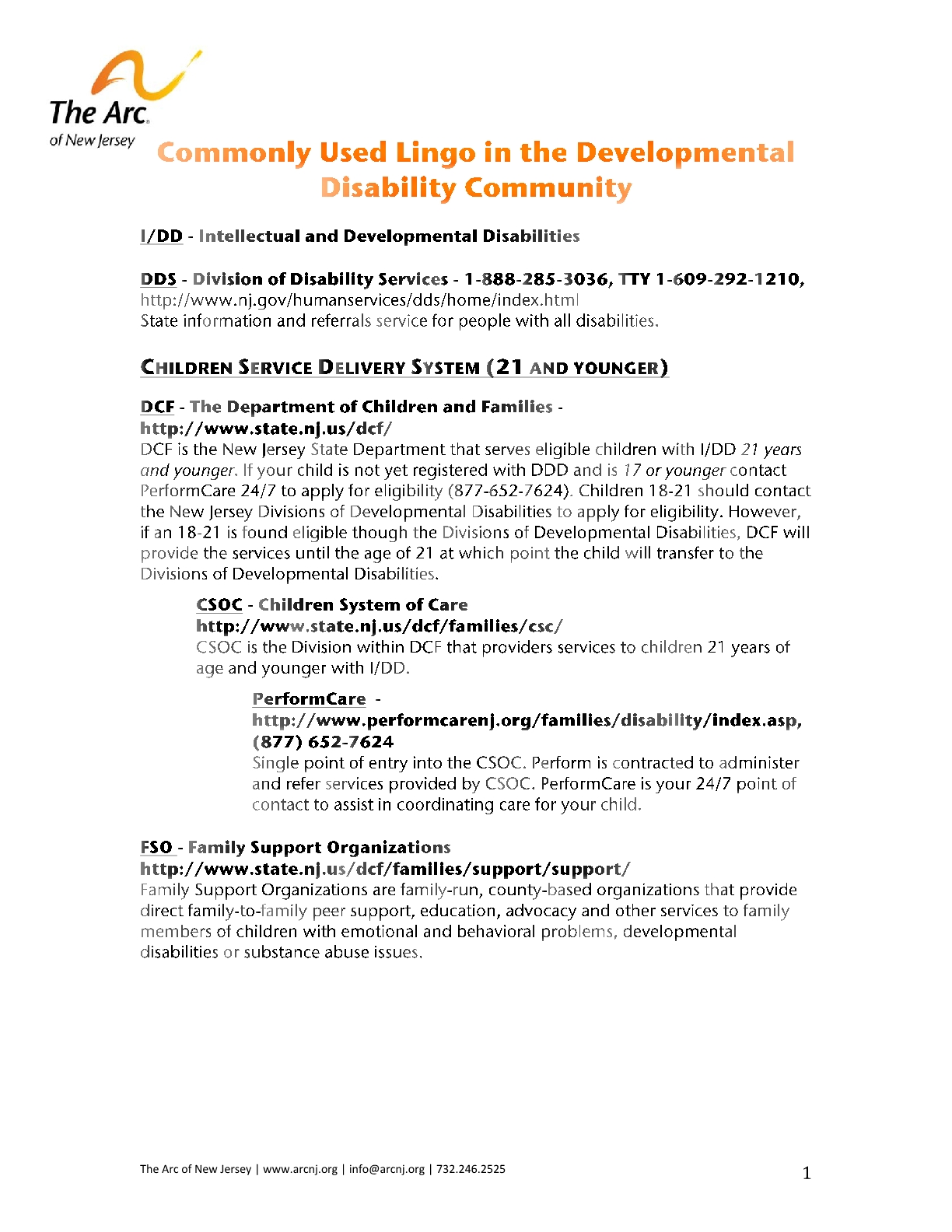 Commonly Used Lingo in the Developmental Disability Community