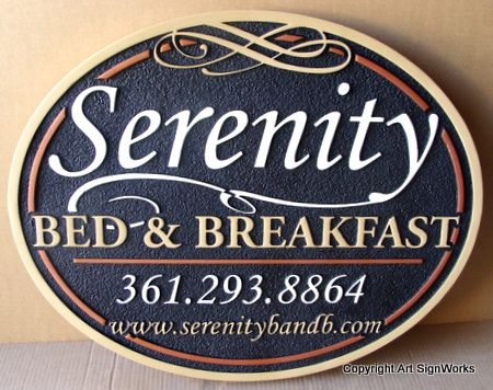 "T29043 - Elliptical Carved High-Density-Urethane (HDU) Sign for""The Serenity Bed & Breakfast"""