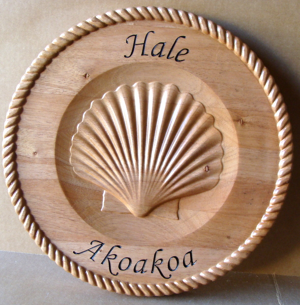 """L21980 - Carved Maple Wooden Wall Plaque with 3D Seashell, for Hawaiian College """"Hale Akoakoa"""""""