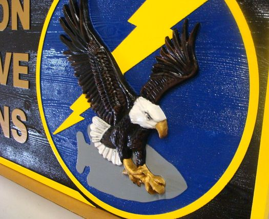 JP-1625 - Carved  Plaque of Crest/Emblem  for Navy TACRON 12 Talons,   Stained Cedar Wood and Artist Painted (Closeup)