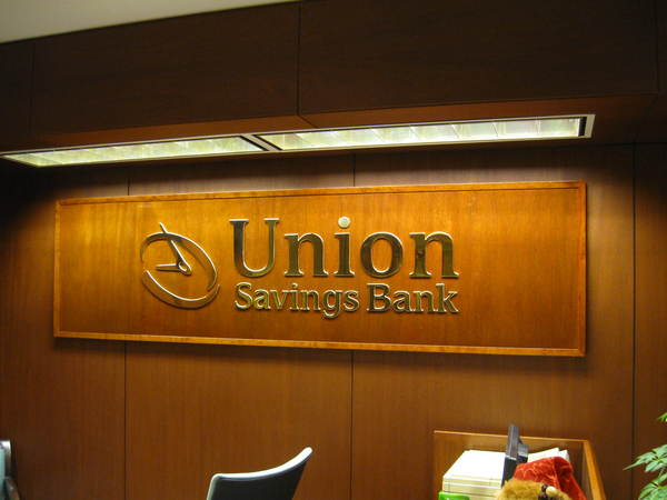 "Interior Executive Office Reception Area Sign,1/4"" Polished Brass Letters on Wood Panel"