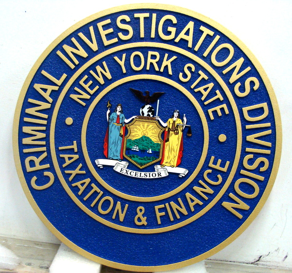 A10915 - Carved Wall Plaque for the Criminal Investigations Division, State of New York