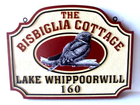 M22806 - Carved Property Name & Address Sign, with Whippoorwill Bird