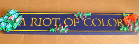 "M2082 - Retail Store Sign with Carved 3D Flowers, ""A Riot of Color"""