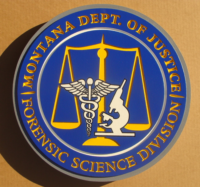 W32312 - Seal of Montana Dept Justice Forensic Science Plaque