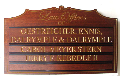 M3021 -Large Law Office Mahogany Sign, with Replaceable Nameplates and Gold-Leaf Text (Gallery 10)