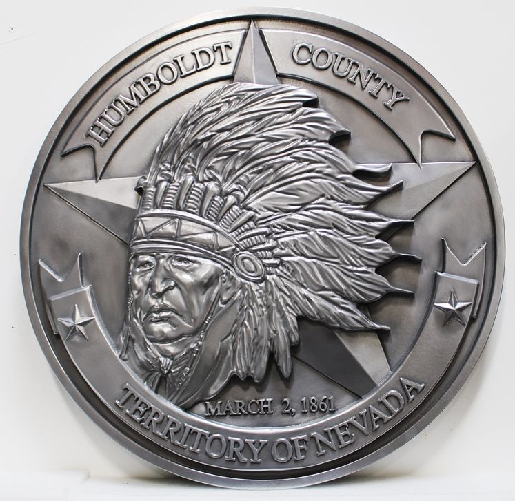 X33400 - Carved 3-D Aluminum-Plated HDU Plaque of the Seal of Humboldt County, Nevada