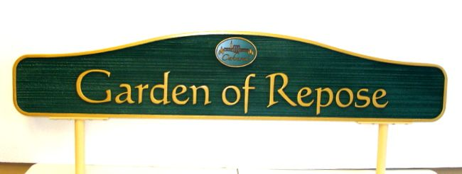 GC16350 - Carved and Sandblasted Wood Grain Cemetery Garden Identification Sign