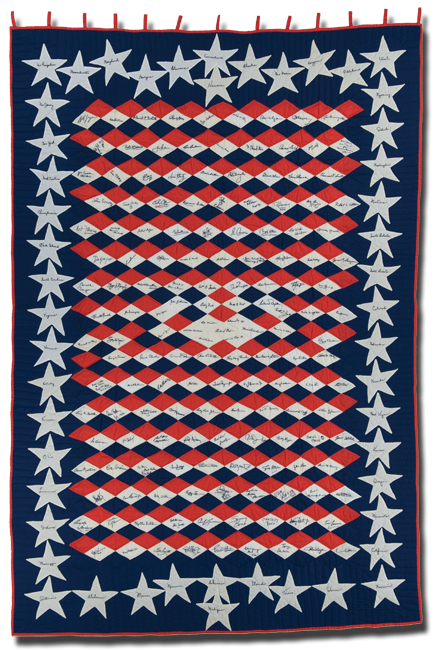 Original, 'The All American Signature Quilt,' made by Mina K. Kuthe, Maywood, Illinois,1974-1975, 99 x 67, IQSCM 2006.022.0001