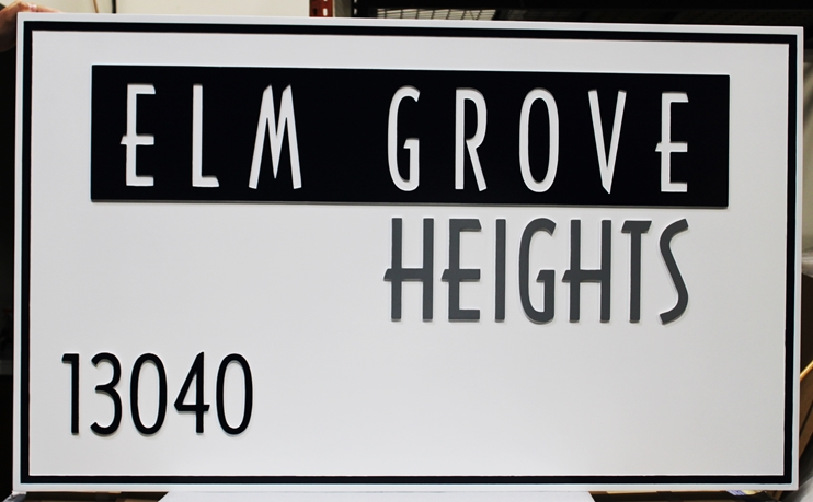 """K20404 - Carved and Engraved High-Density-Urethane (HDU)Entrance Sign for the """"Elm Grove Heights""""Residential Community"""