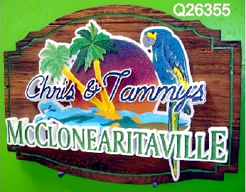 GB16828 - Carved Western Red Cedar Wood and  HDU  Sign for McClonearitaville Pool Bar, with a Parrot, Palm Trees, Setting Sun and Beach Scene as Artwork