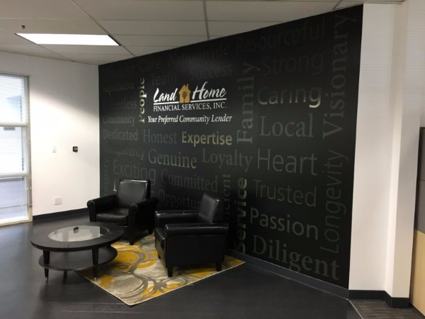Lobby wall murals for mortgage companies in Santa Ana CA