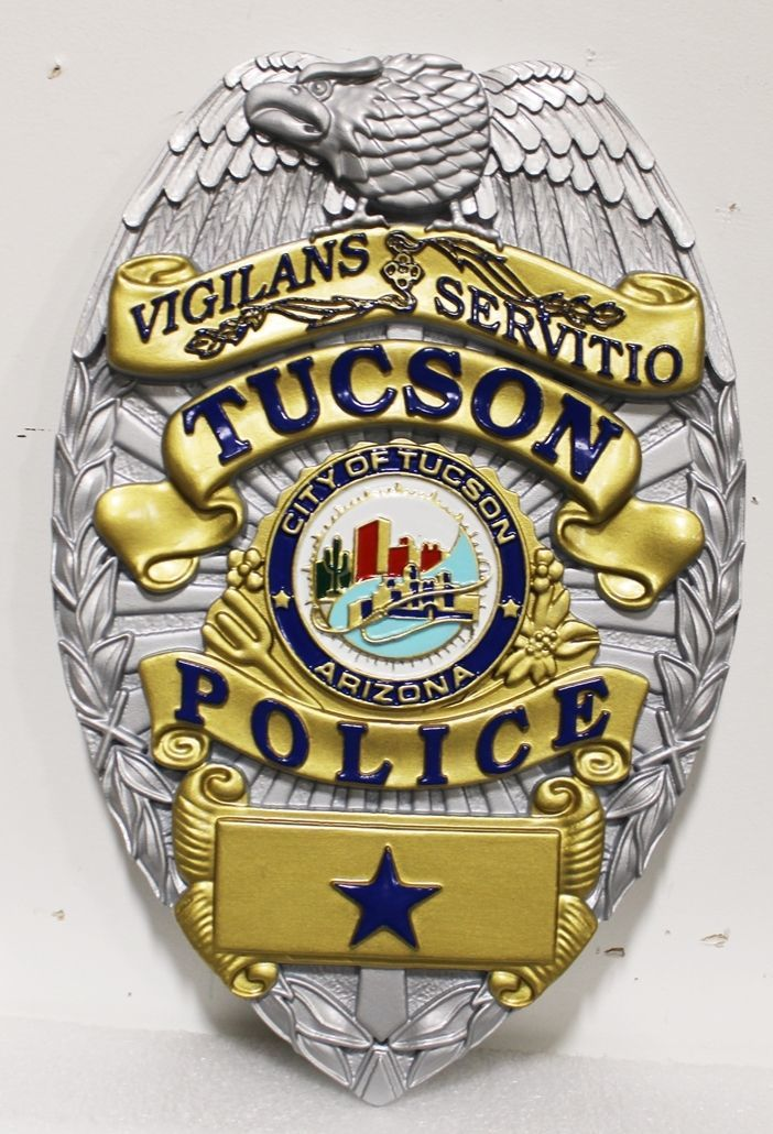 PP-1373 - Carved 3-D HDU Wall Pllaque of the Badge of Police Department,Tucson, Arizona