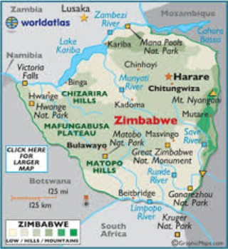 Topographic Map Zimbabwe.African Centres For Lightning And Electromagnetics Network