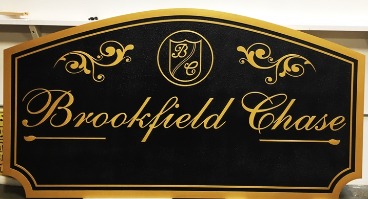K20075 - Elegant and Formal 2.5D Carved HDU  Entrance Sign of the Brookfield Chase Residential Community.