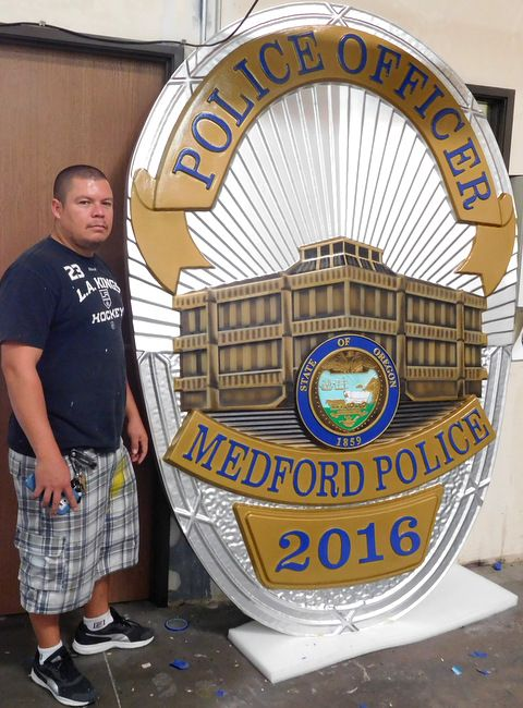 X33684 - Very Large Carved  Wall Plaque of the Badge of a Police Officer for Medford, Oregon