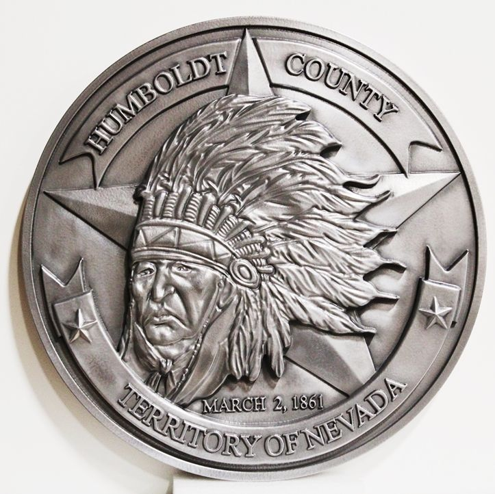 M7267 - Aluminum-platedCarved High-Density-Urethane (HDU) Wall Plaque of theSeal of the Humboldt County, Nevada.